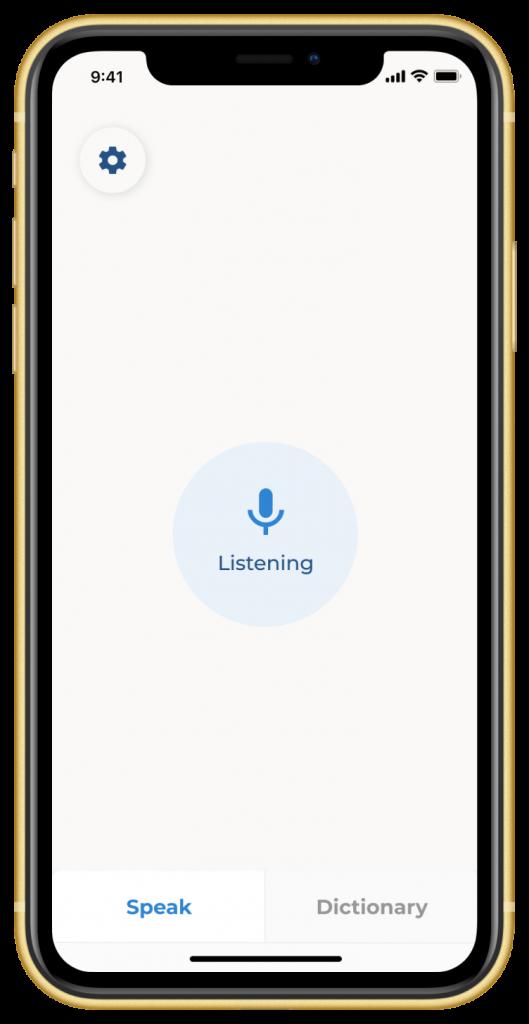 Voiceitt app in listening mode