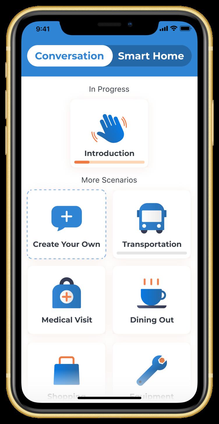Phone showing Voiceitt app on Conversation scenarios