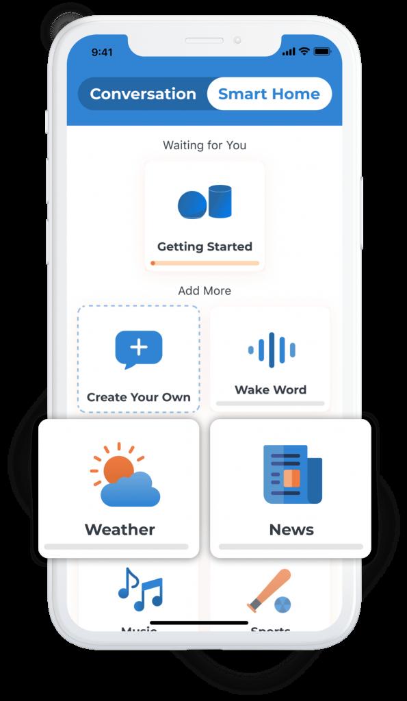Phone showing Voiceitt Smart Home Scenarios screen