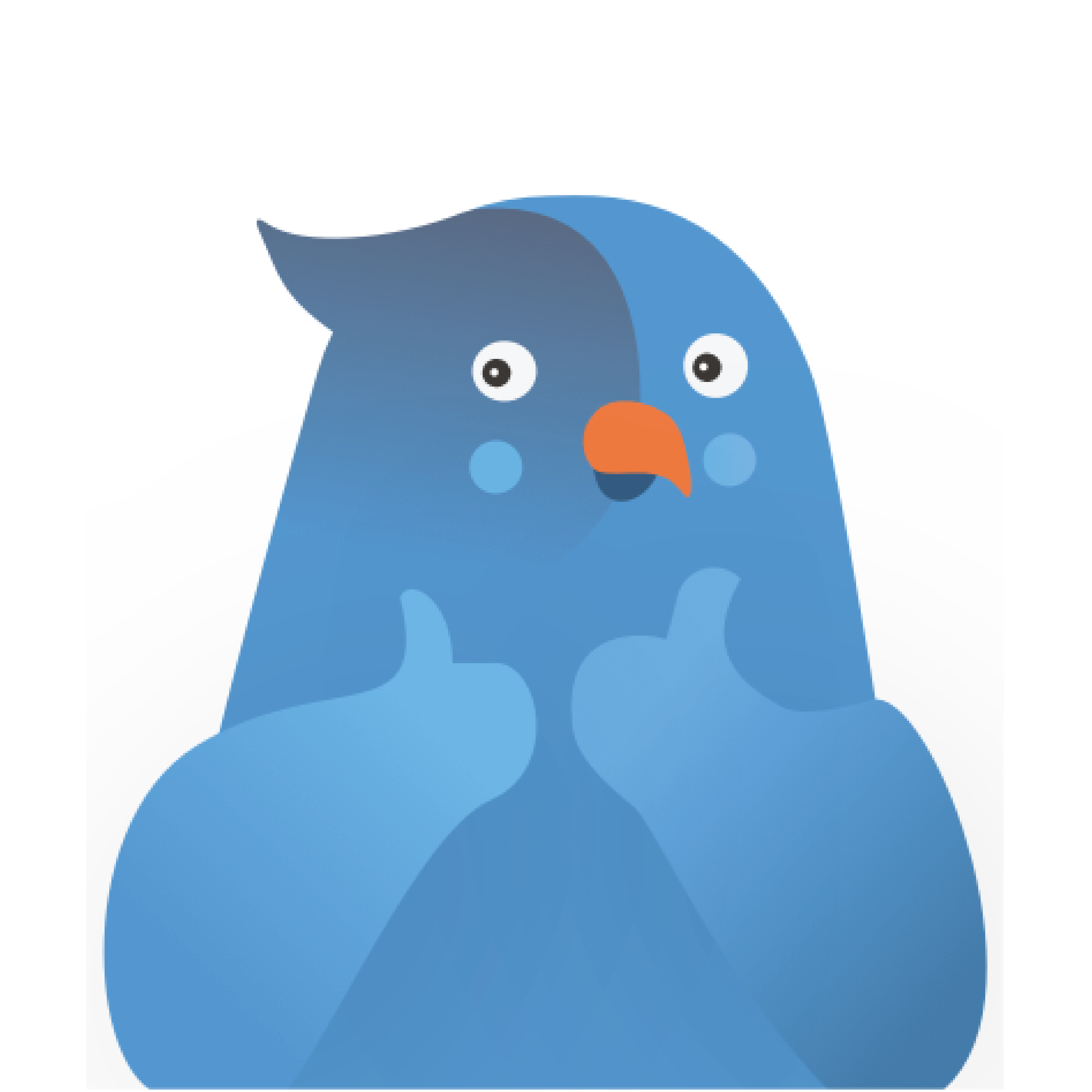 Yubi, the blue parrot mascot, with thumbs up on a teal background
